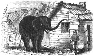 [Miners' Ten Commandments Elephant points trunk toward Ten Commandments.]